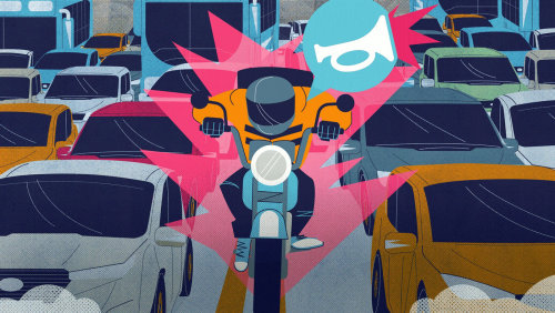 Illustration graphique du motard dans le trafic