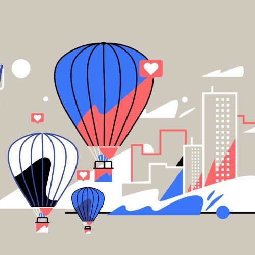 Graphic illustration of parachute Bye