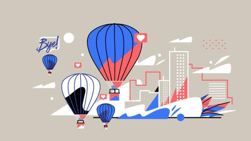 Illustration graphique du parachute Bye
