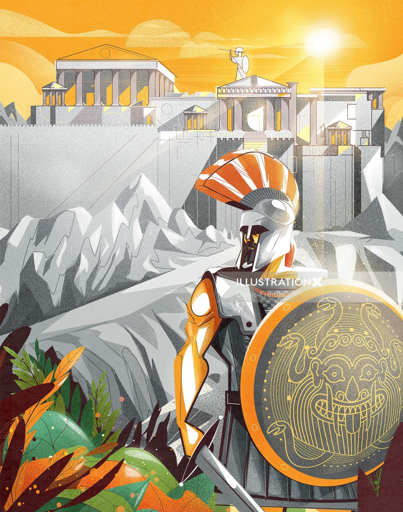 roman warrior guarding the palace