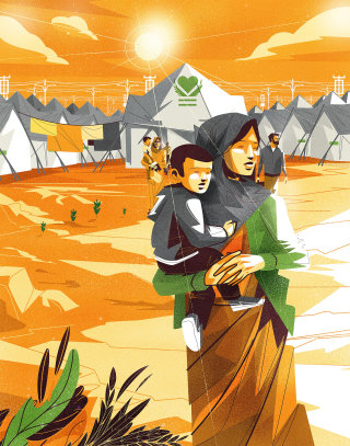 mother carrying her child in a camp
