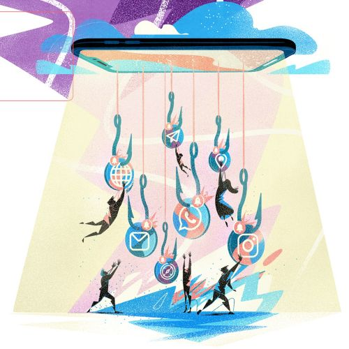 Graphic illustration of people catching hooks