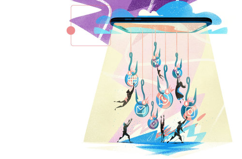 Illustration graphique de personnes attrapant des hameçons