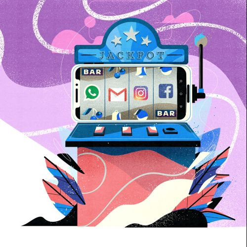 social media jackpot machine artwork