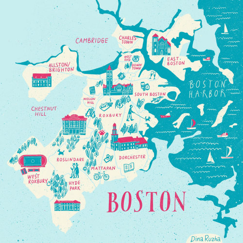 An illustrated map of Boston