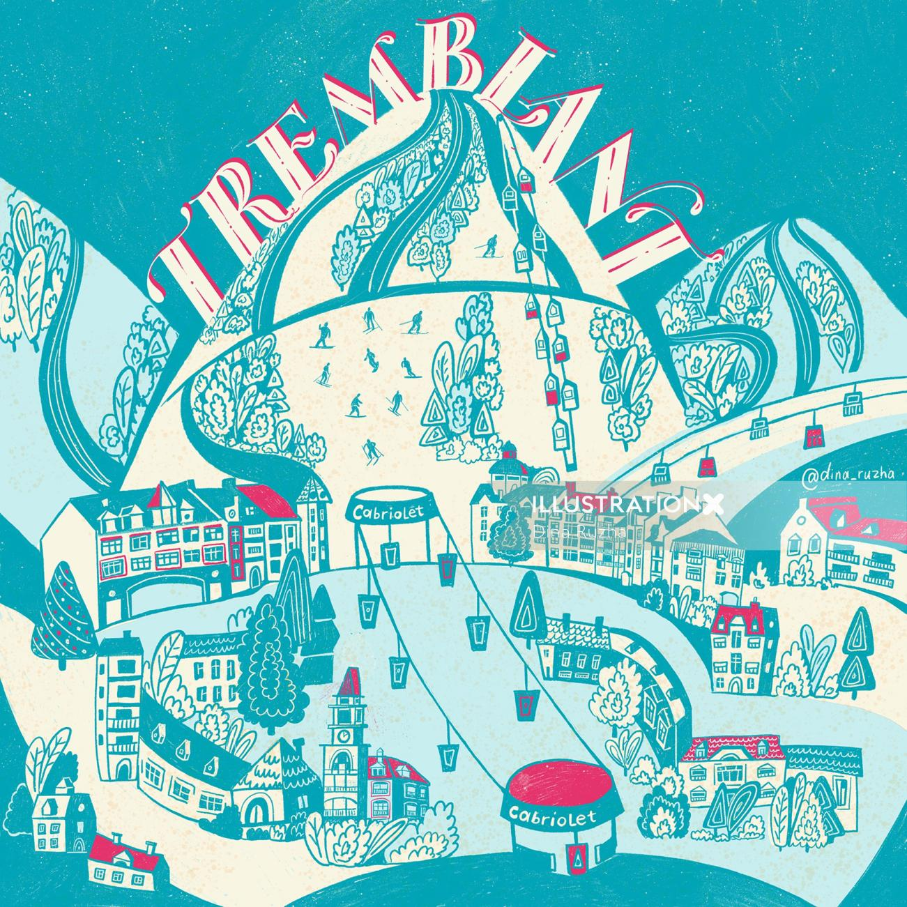 An illustrated map of the mountain Tremblant