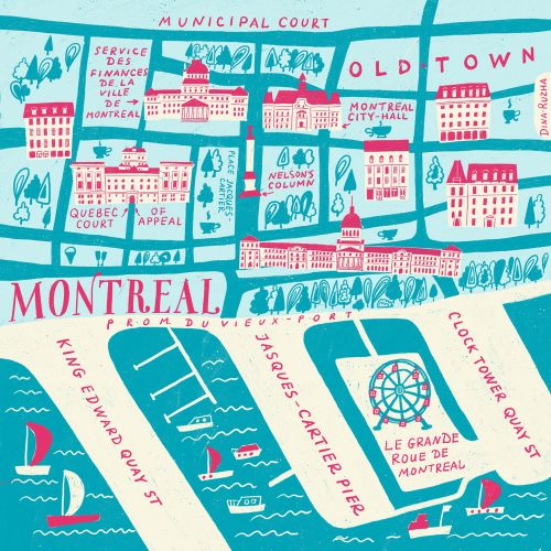 An illustrated map of Montreal