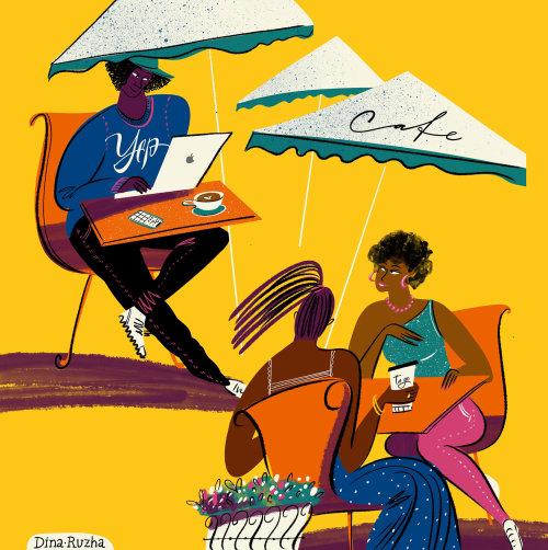 Ilustración editorial de personas en café
