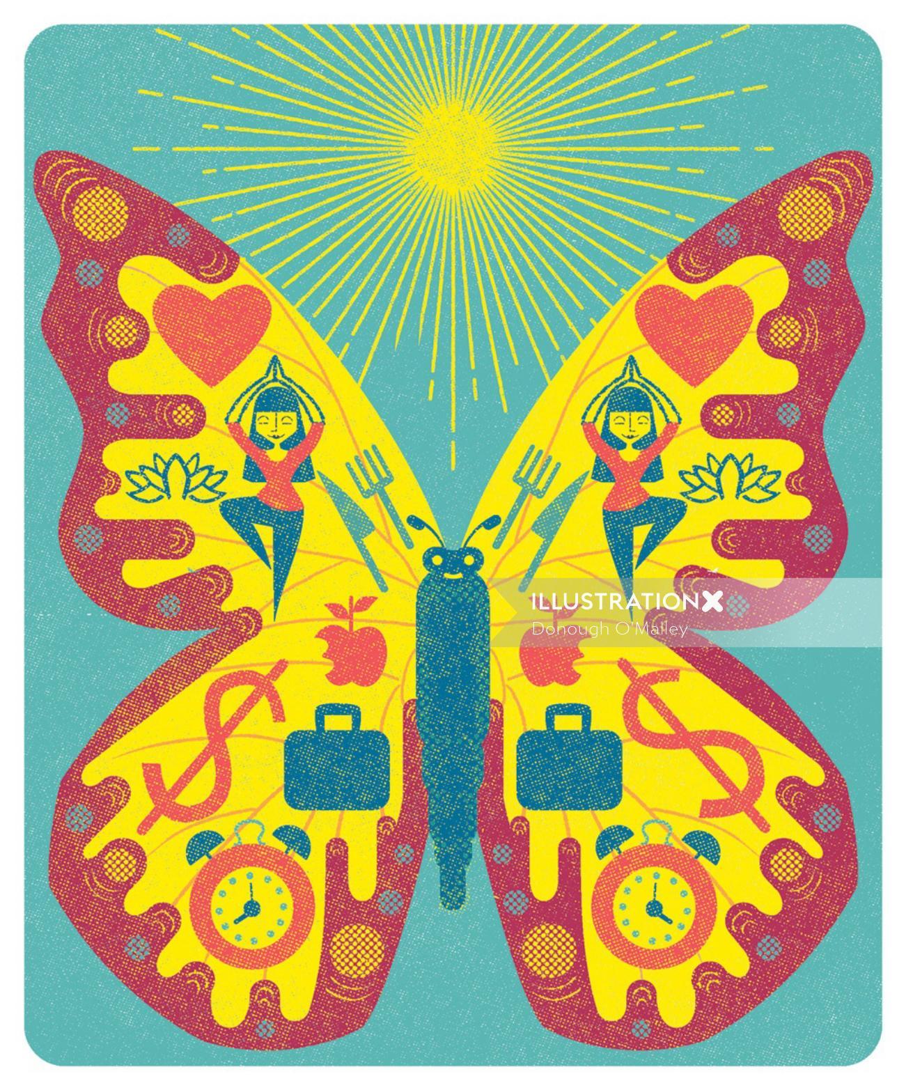Magazine illustration of butterflies