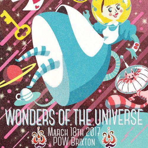 Illustrated promo flyer for Wonderland music festival UK.