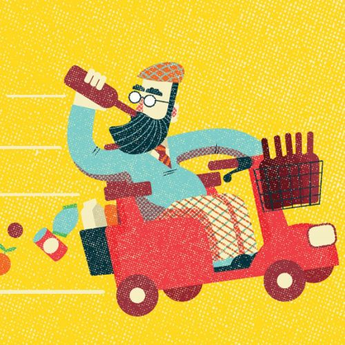 Food & drink spending in America magazine article illustration