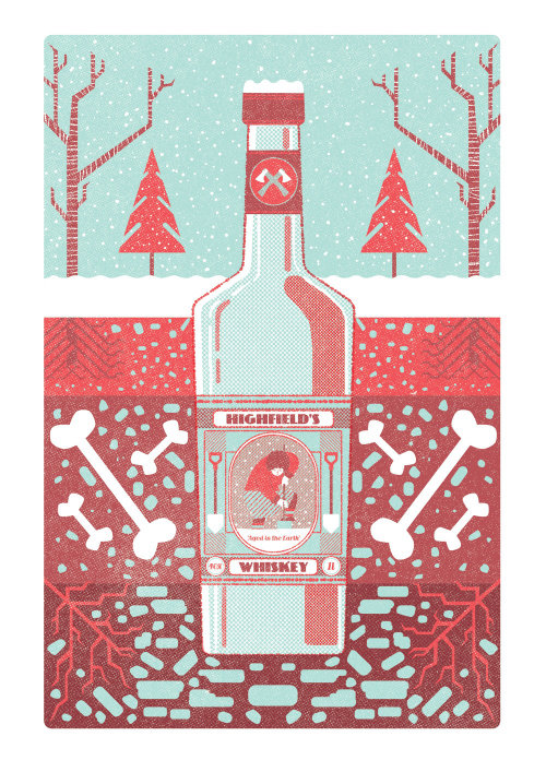 Packaging illustration of Highfields's whiskey