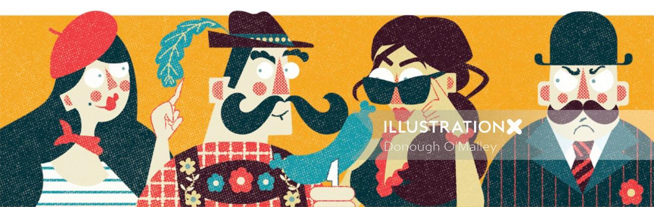 Editorial illustration of culture of European nationalities