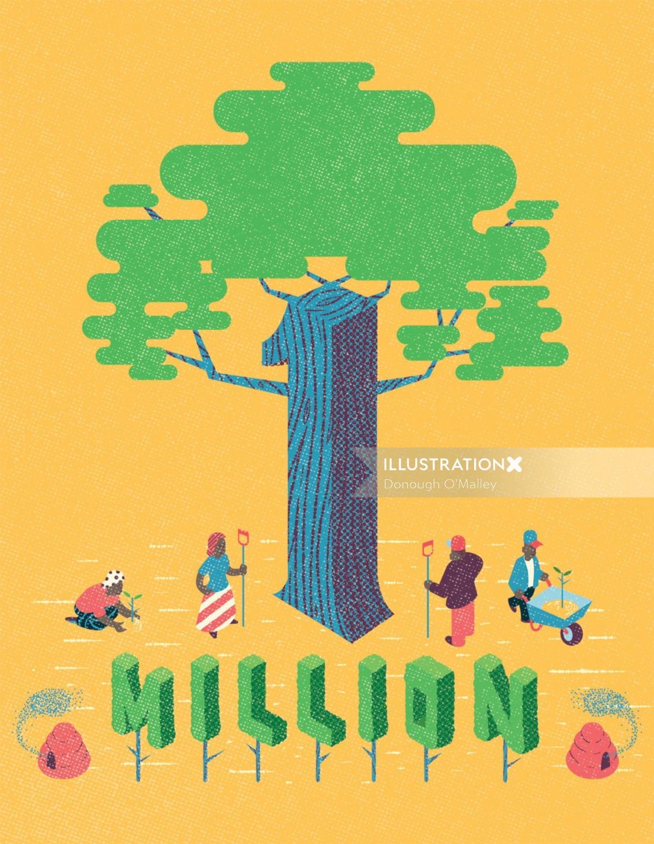 Congratulations Illustration for llustrationltd on planting over 1 million trees