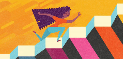 Graphic design of girl running