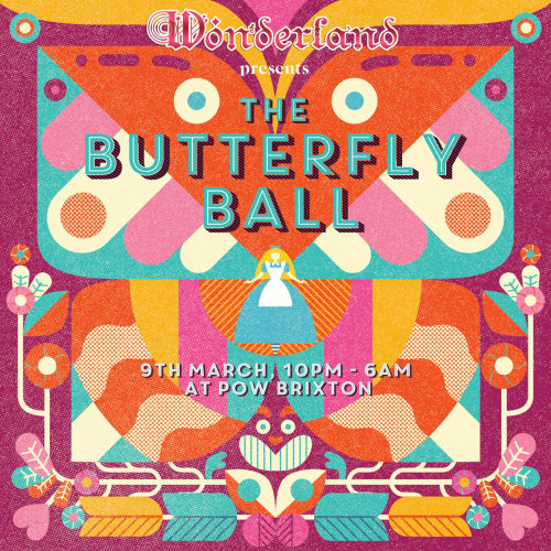 Poster design of the butterfly ball for Wonderland