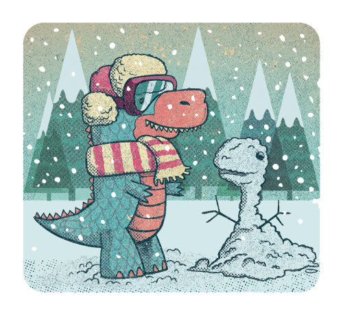 Dinosaure dans la neige