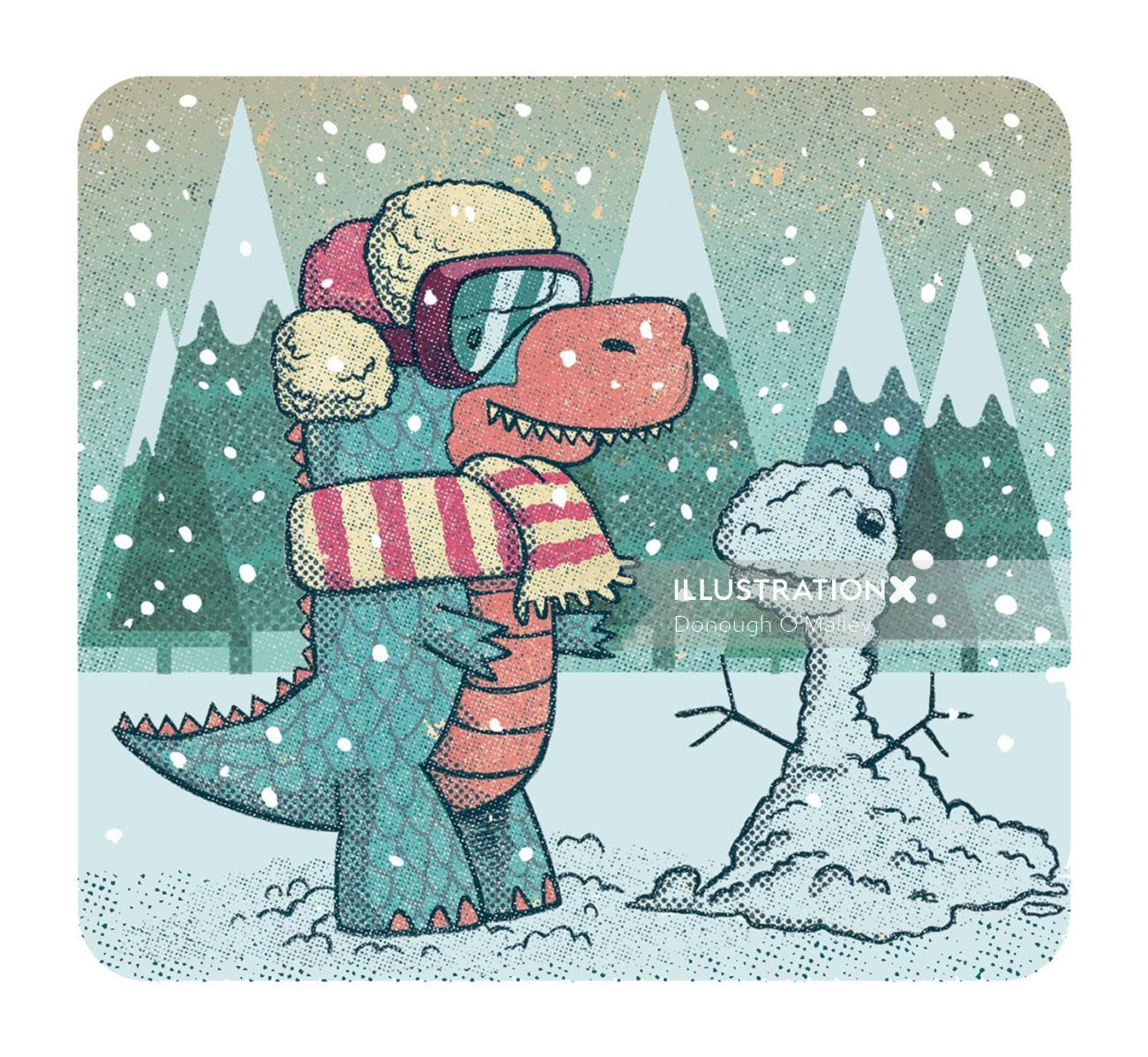 Dinosaur in snow
