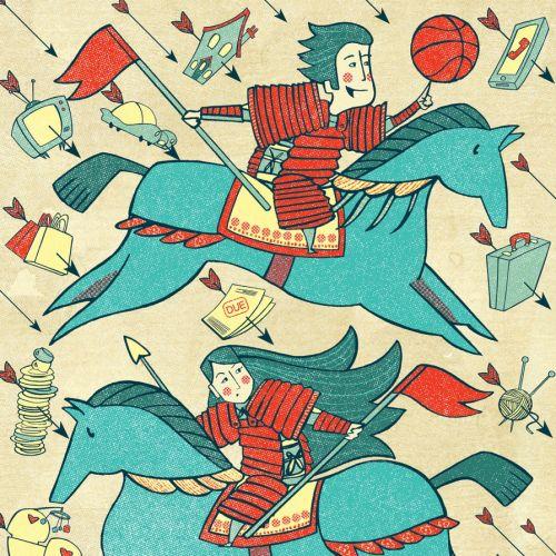 Warriors on a running horse