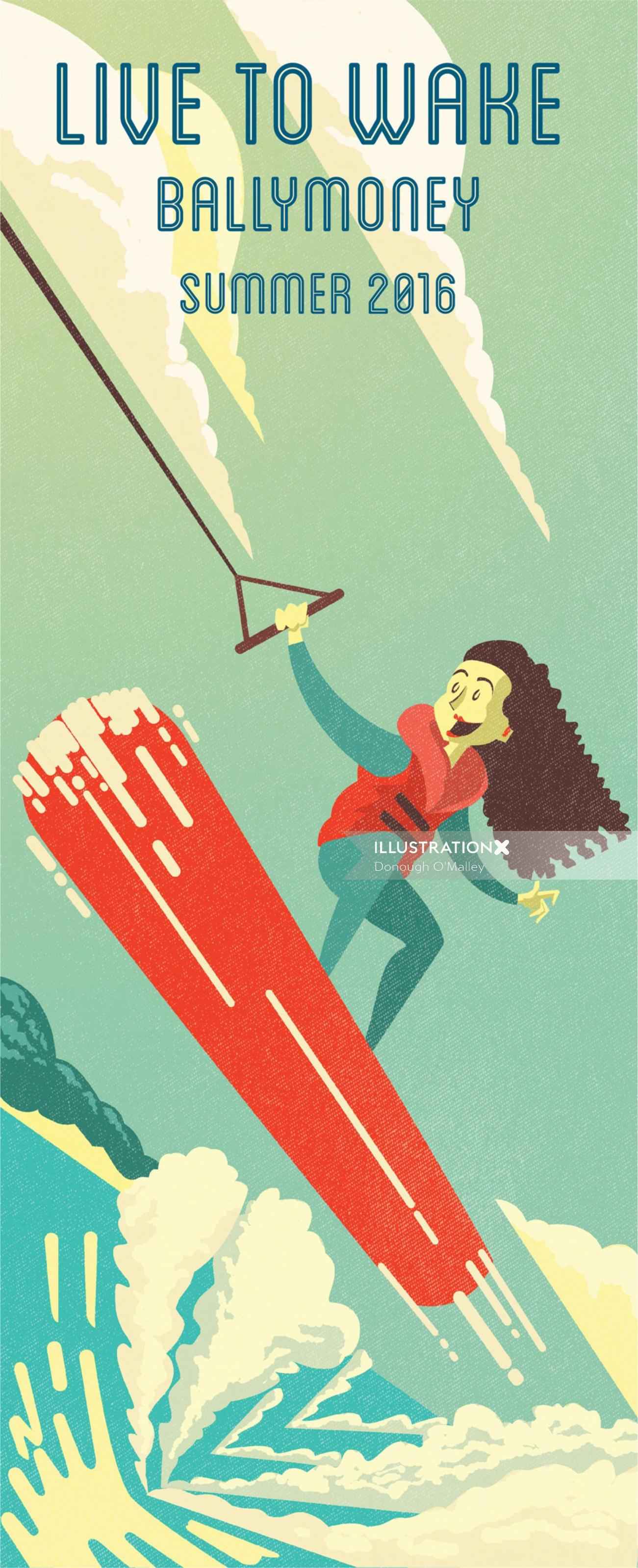 Wakeboarding illustration by Donough O'Malley