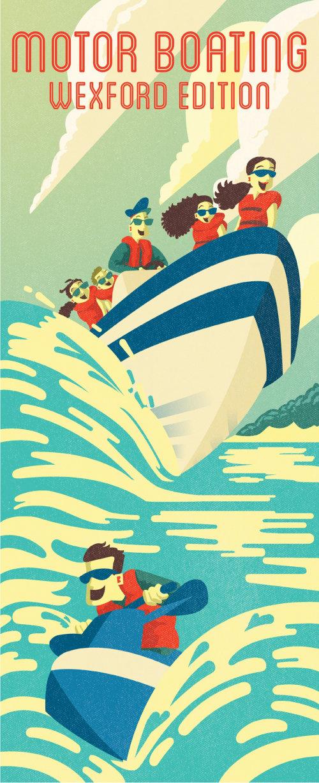 Gens heureux sur un bateau rapide