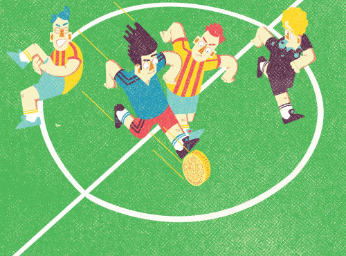 Sports illustration of playing football