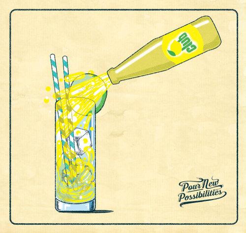 Illustration promotionnelle pour les boissons gazeuses Britvic.
