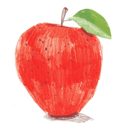 Digital painting of red apple