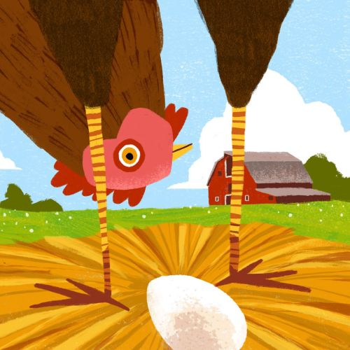 Graphic design of Chicken sitting up to inspect egg.