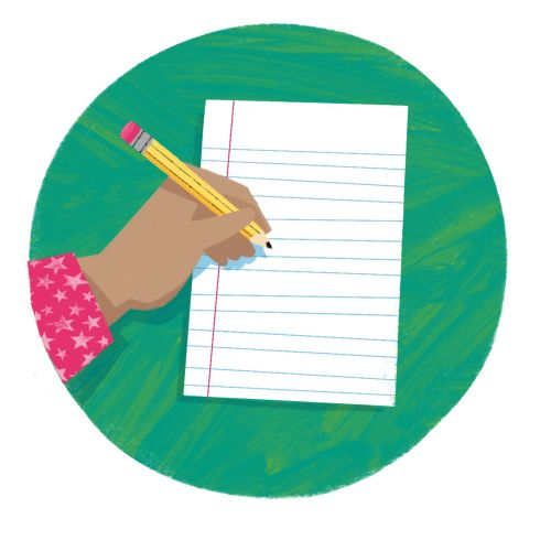 Illustration of Hand with pencil about to write on a piece of paper.