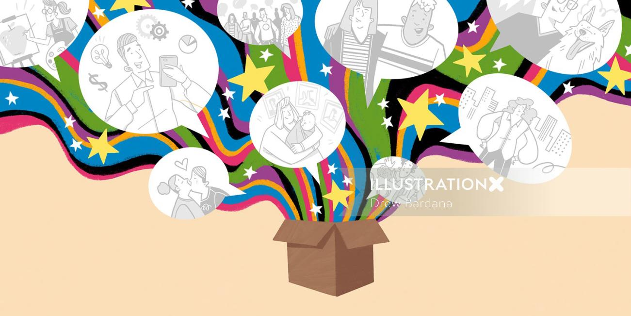 Cardboard box opening to show speech bubbles filled with scenes of people