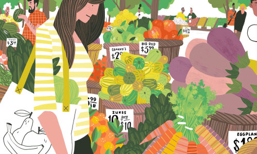 Food illustration of farmer's market