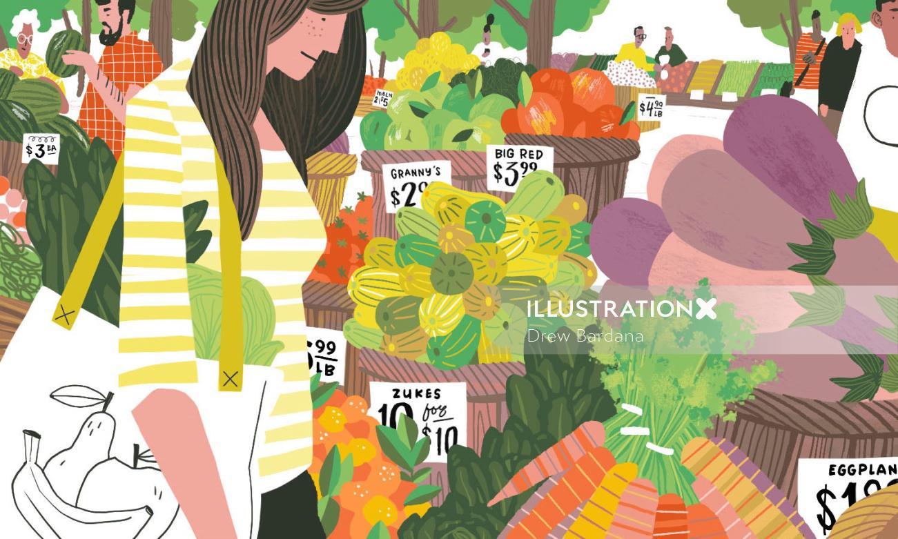 Food illustration of farmer's market