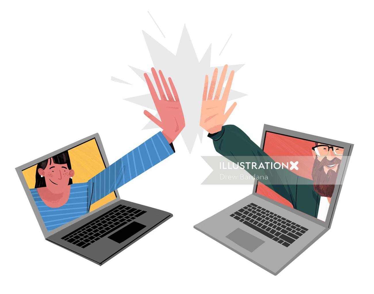 Conceptual art of Two people high five-ing through two laptops.