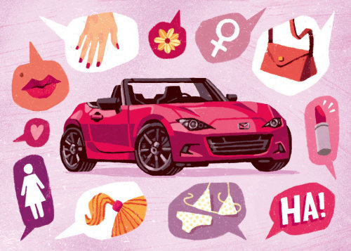 Illustration of Mazda Miata with feminine icons surrounding