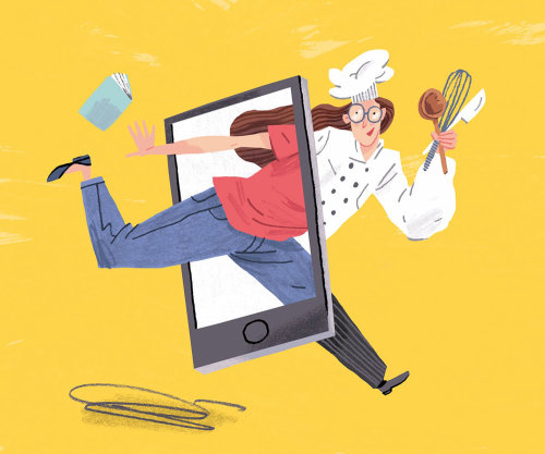 Editorial illustration of chef