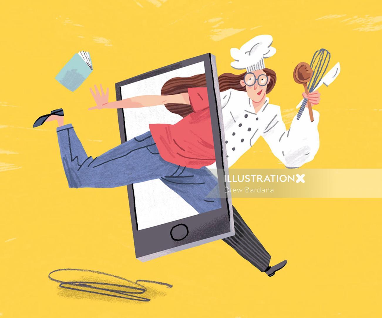 Editorial illustration of chef