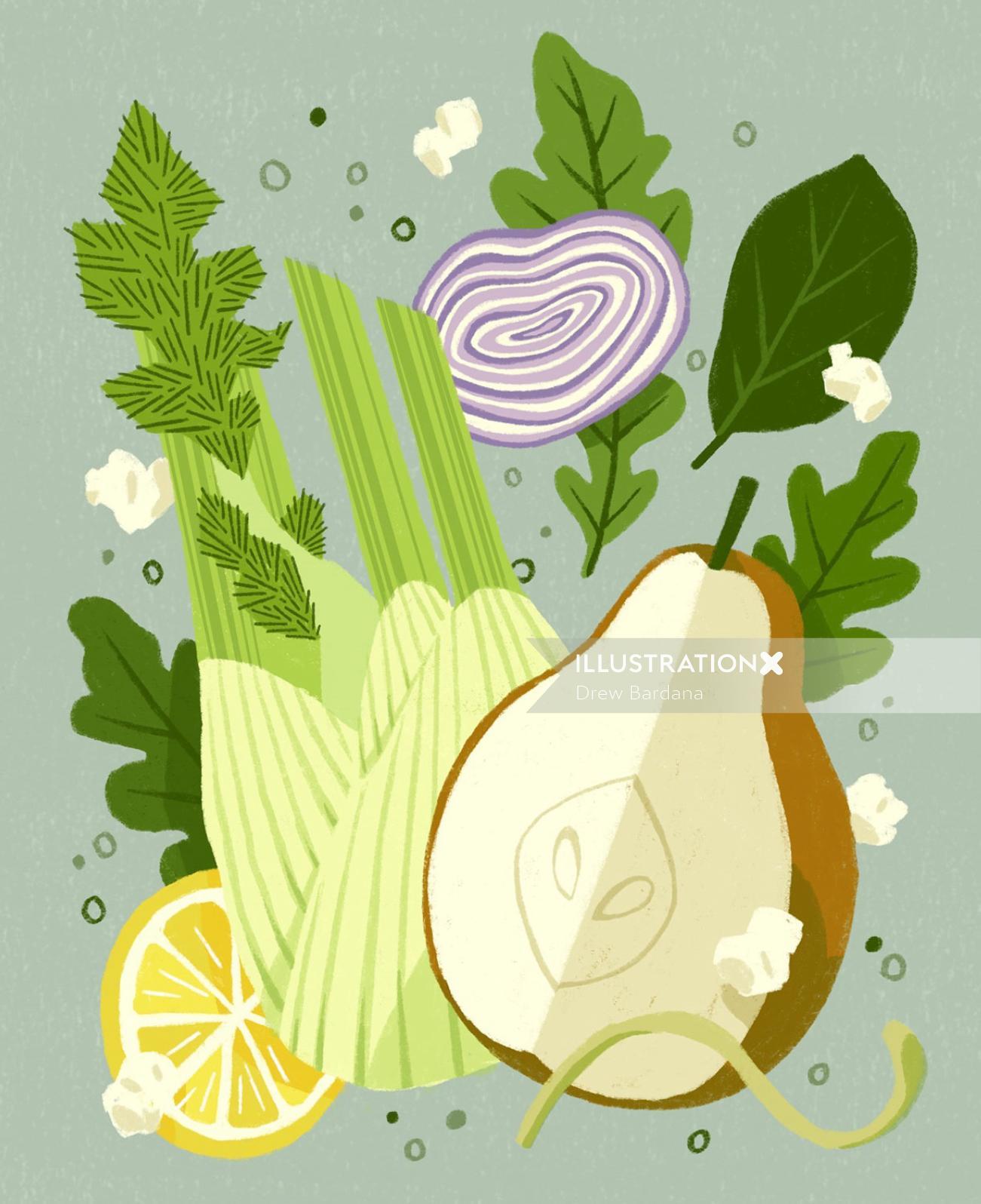 Food illustration of Pear Fennel Salad