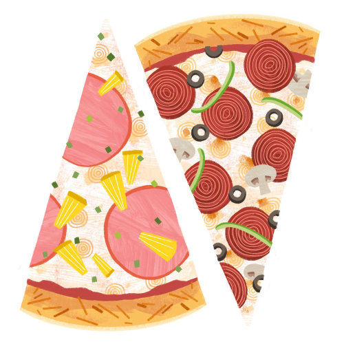 Two slices of pizza food illustration