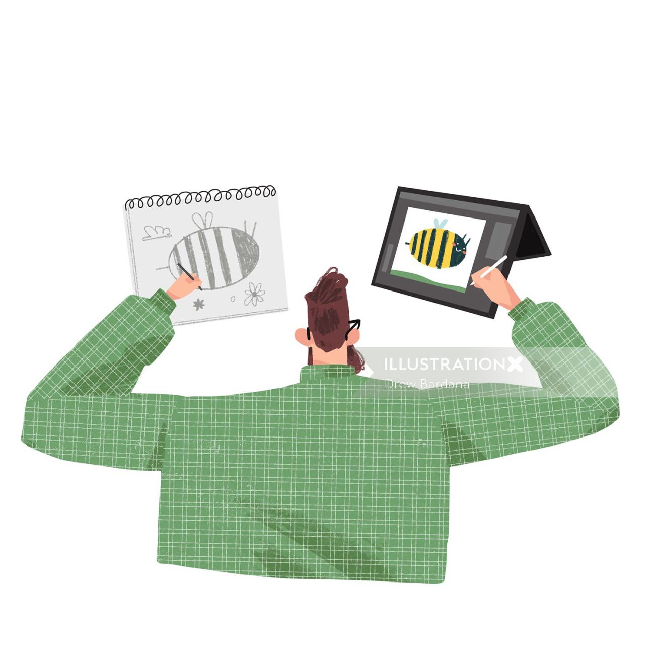 Graphic design of Man drawing on paper and computer tablet.
