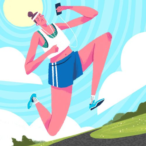 Woman looking at smartphone while running illustration