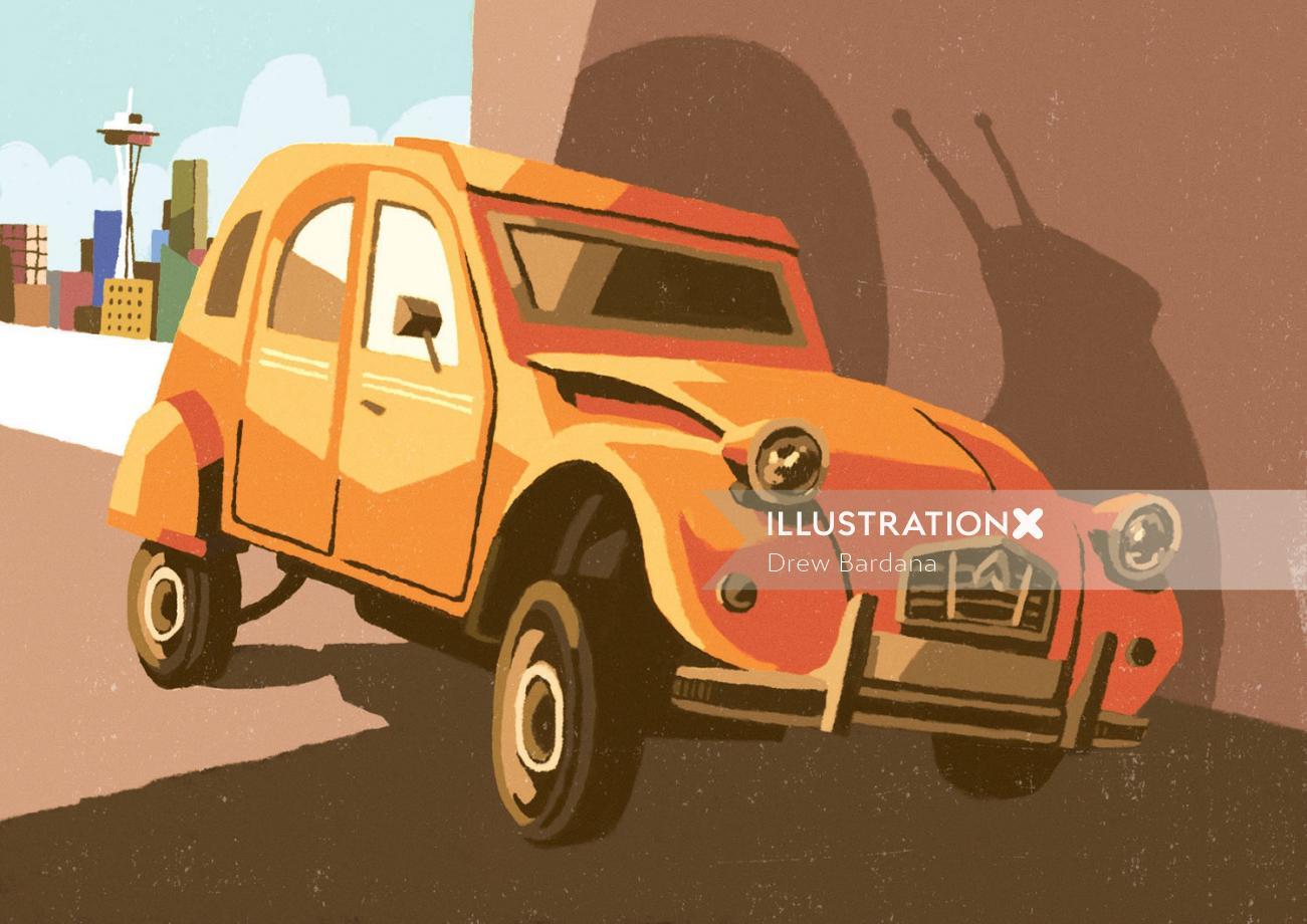 Digital painting of Citroen Snail Car