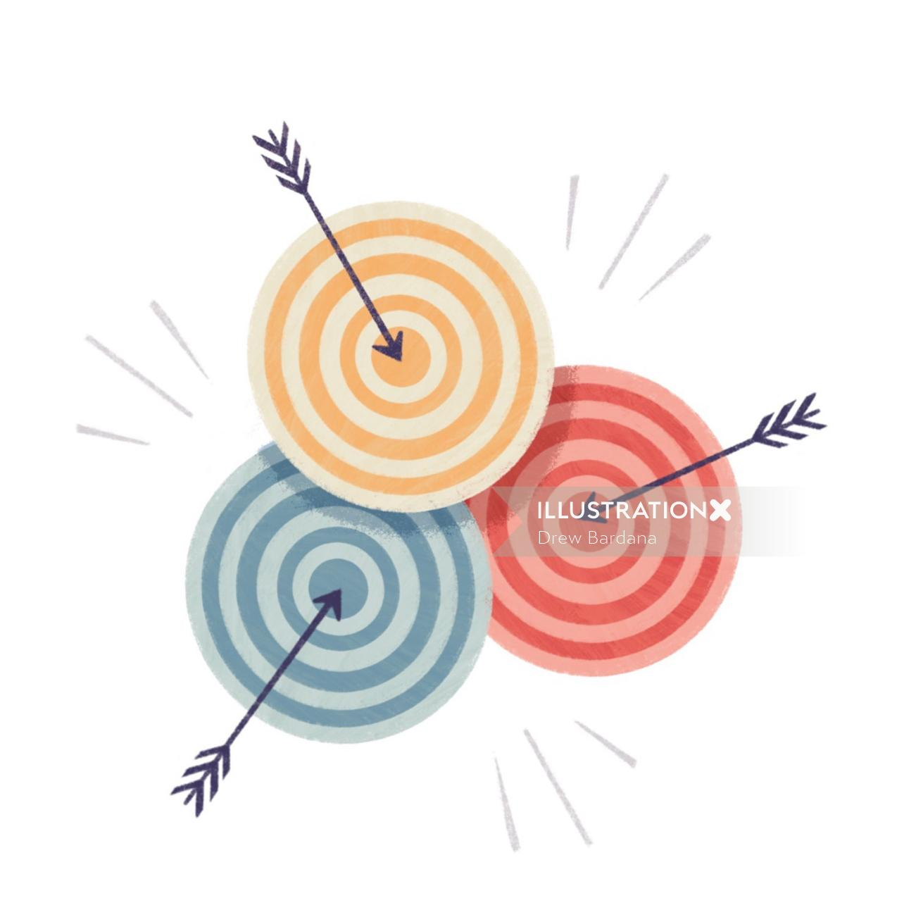 Illustration of Three overlapping targets with arrows in the bullseye