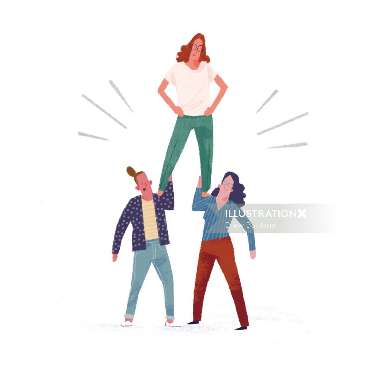 Two women holding up another woman on their shoulders.