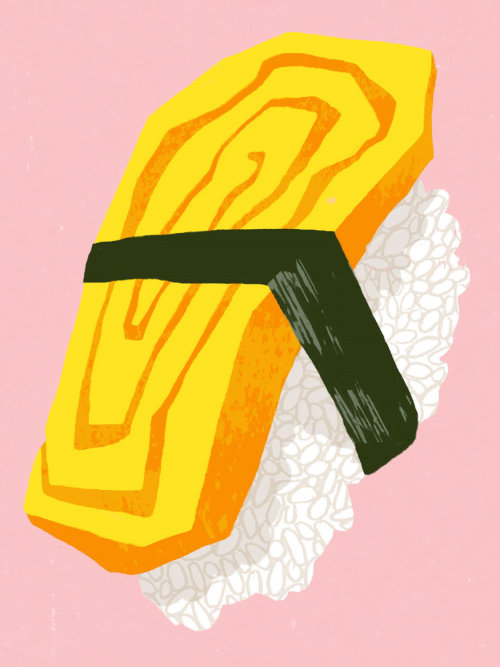 Illustration of Tamago Nigiri with pink background.