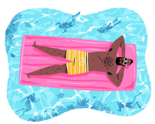 Fashion illustration of Man relaxing on pool flotation