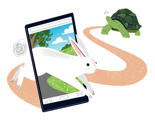 Digital hare and tortoise