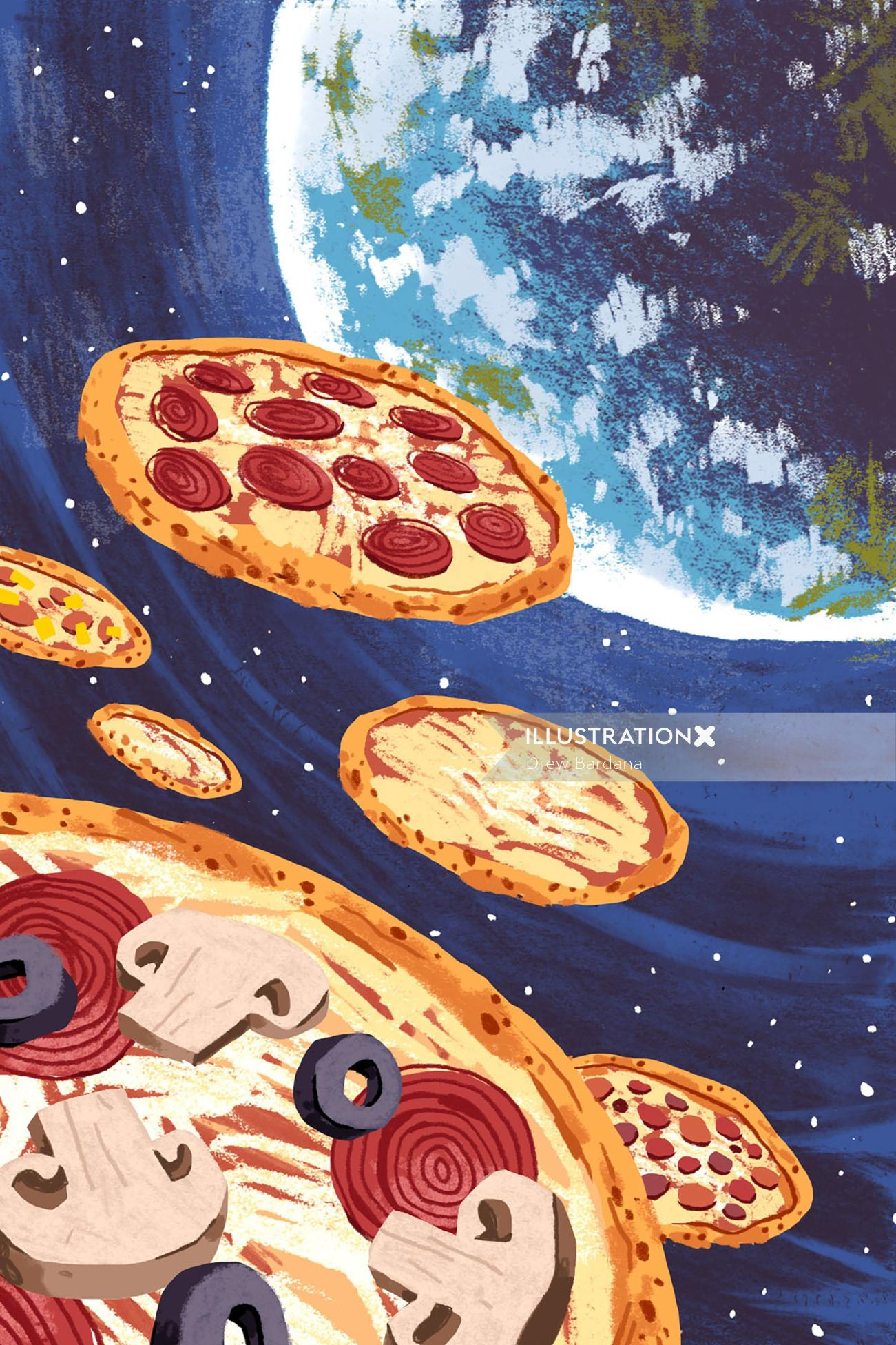 graphic pizza in space