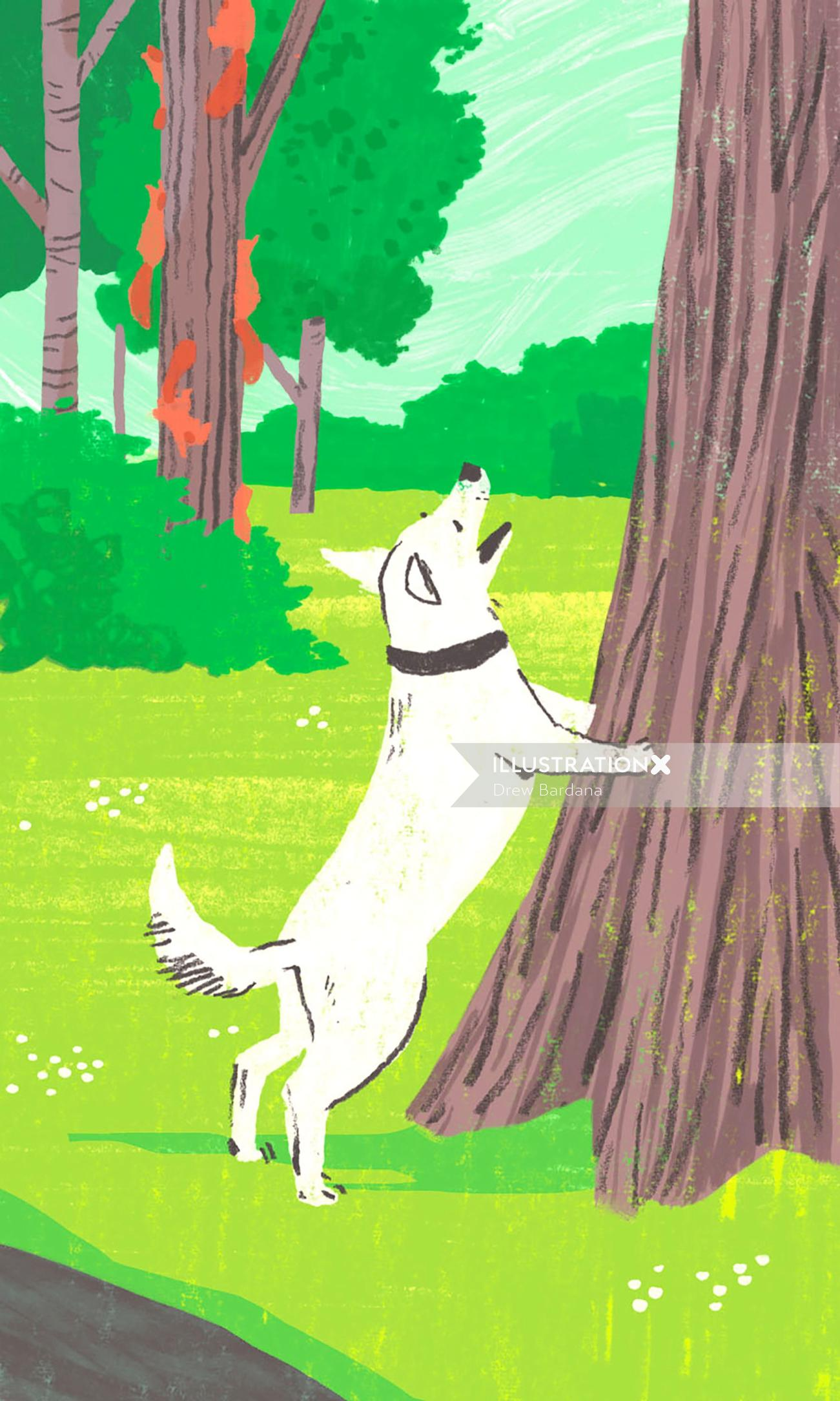 Animal illustration of happy dog