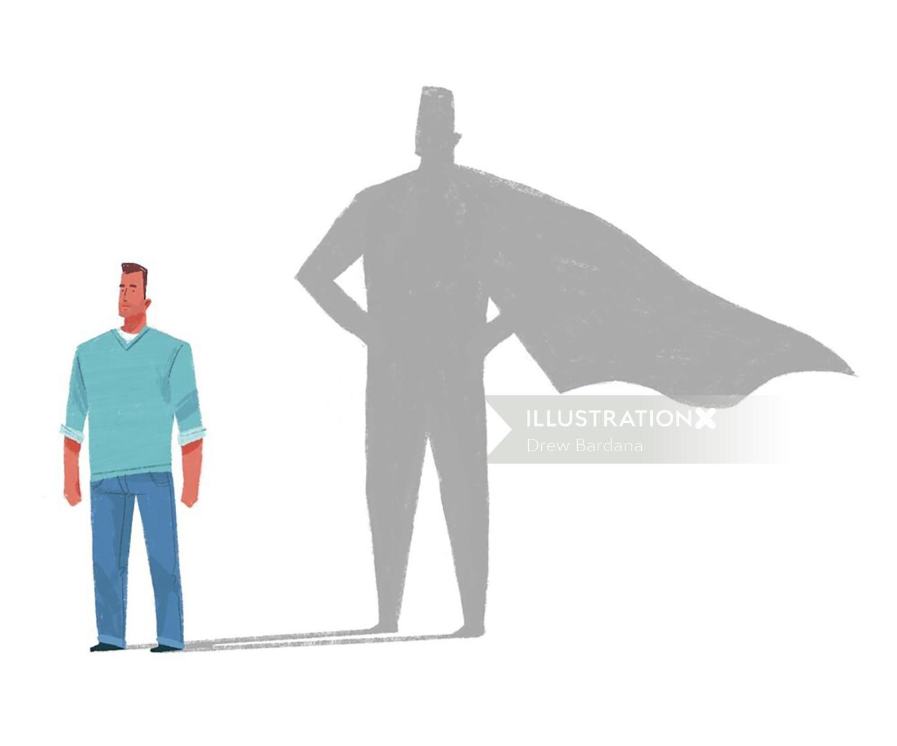 Illustration of a common man with hero inside